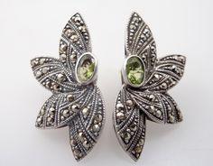 Vintage Deco Sterling Demi Leaf Earrings with by MindiLynJewelry