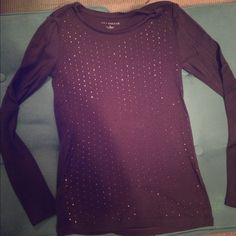 Ann Taylor Studded Long Sleeve Charcoal with Rose gold/brass circular studs / like new, worn once Ann Taylor Tops Tees - Long Sleeve