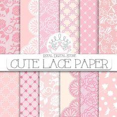 "Lace Digital Paper: "" Cute Lace Digital Paper"" with lace background, lace texture, pink lace, beige lace, vintage lace pattern, brown lace #pink #digitalpaper #scrapbookpaper"