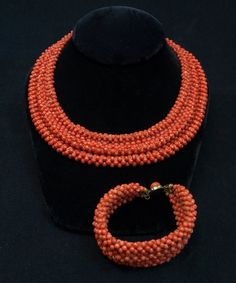 Antique Victorian Beaded Coral Necklace and Bracelet Set