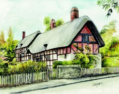 Avon Painting - Anne Hathaway Cottage England by Morgan Fitzsimons Anne Hathaway's Cottage, Cottage In The Woods, Cottages England, Just Relax, Paintings For Sale, Home Art, Fine Art America, House Styles, Pictures