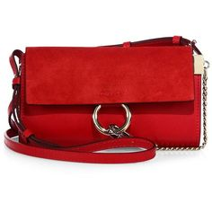 Chloé Mini Faye Leather & Suede Shoulder Bag ($795) ❤ liked on Polyvore featuring bags, handbags, shoulder bags, purse shoulder bag, hand bags, shoulder handbags, man bag and mini shoulder bag
