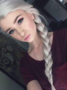 Image via We Heart It #braids #eyebrows #goth #grunge #hair #hairstyles #Hot #longhair #model #models #piercing #Piercings #pretty #septum #whitehair