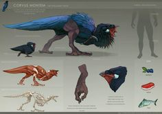 ArtStation - The Crow and the Sheep - Dina Norlund Alien Concept Art, Creature Concept Art, Fantasy Monster, Monster Art, Alien Creatures, Magical Creatures, Creature Feature, Creature Design, Fantasy Beasts
