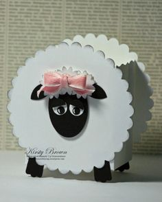 sheep, I cut it with a cricut scallop circle and oval punch for face and ears,oval scallop punch for head by veronicawasp Easter Crafts, Crafts For Kids, Diy Crafts, Sheep Crafts, Punch Art Cards, Craft Punches, Treat Holder, Treat Box, Country Crafts