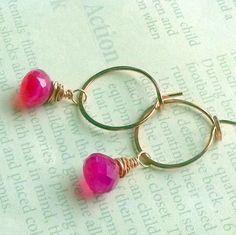 Pink chalcedony earrings  http://www.artfire.com/ext/shop/product_view/earthegy/3484295/