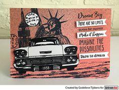 Card by Godelieve Tijskens using Darkroom Door Dream Big Sentiments Stamp, Classic Cars Vol 1, New York Vol 1 & Vol 2 Stamp Sets Strive For Success, Distress Oxide Ink, Dream Big, New York, Doors, Shit Happens, Stamps, Projects, Blog