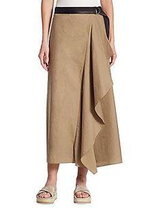 Brunello Cucinelli Cotton-Blend Ruffle Skirt - Hazel