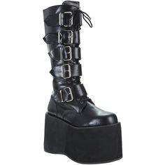 Pleaser Demonia By Pleaser Mega Platform Wedge Boot ($106) ❤ liked on Polyvore featuring shoes, boots, black platform shoes, pleaser boots, gothic boots, black goth boots and platform wedge shoes