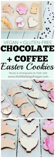 THE BEST vegan & gluten-free chocolate & coffee cookies, with pastel fondant. Perfect easter treat! Also, caffeine free!