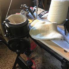 My latest workbench. Making socks on a vintage sock knitting machine Farm Store Sock Knitting, Knitting Machine, Farm Store, Winter Socks, Nespresso, Fiber, Kitchen Appliances, Wool, Vintage