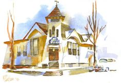 The White Framed Church in Winter in watercolor
