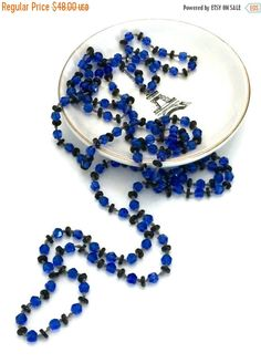 Long Flapper Necklace, Art Deco Era, Faceted Cobalt Blue and Black Disc Glass Beads, Hand Knotted, 1920s,