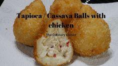 Tapioca / Cassava / Manioc Balls with a chicken filling Chicken Balls, Pinwheels, Finger Foods, Frozen, Corner, Make It Yourself, Baking, Breakfast, Bread Making
