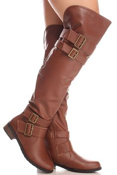 Coffee faux leahter multi buckle strap side zipper over the knee boots