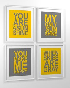Nursery art print 11x14 set of 4 You Are My Sunshine My only by MiraDoson on Etsy, $53.00