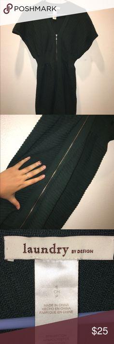 Dark green zip up dress Beautifully flattering on all body types. Runs a bit large. Falls just above knee-length. Never worn! Dresses