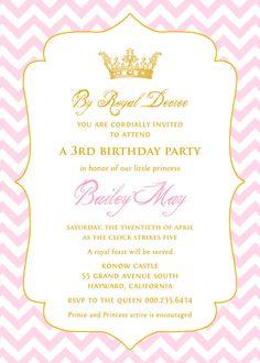 Chevron+Princess+Birthday+Invitation+in+Pink+&+by+paperimpressions,+$25.00