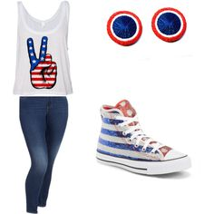 4th of July set by hypnoears-official on Polyvore featuring polyvore, fashion, style, Old Navy, Converse and Hypnoears