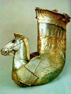 Scythian Silver Rhyton with Pegasus protome (original), found at Ulyap, Republic Adygea, 5th century BC, Greek influence. Before Conservation. The State Museum of Oriental Art, Moscow, Russia.