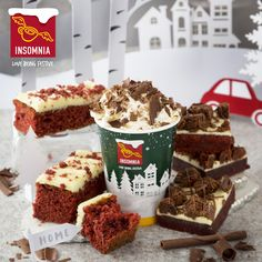 Red Velvet Cake, Red Velvet Brownie and Red Velvet Hot Chocolate Red Velvet Brownies, Velvet Cake, Insomnia, Hot Chocolate, Product Launch, Desserts, Christmas, Food, Tailgate Desserts