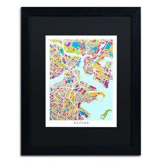 "Trademark Art ""Boston MA Street Map 3"" by Michael Tompsett Framed Graphic Art Size: 20"" H x 16"" W x 0.5"" D"