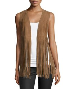 Sonia Suede Fringe Vest, Pale Brown by LaMarque at Neiman Marcus. Outfits Mujer, Vest Outfits, Fashion Outfits, Women's Fashion, Woodstock, Brown Vest, Brown Brown, Brown Suede, Fringes