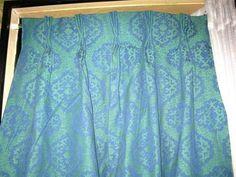 Custom Mid Century Pleated Brocade Damask Jacquard Heavy Drapes Pair 90 | eBay