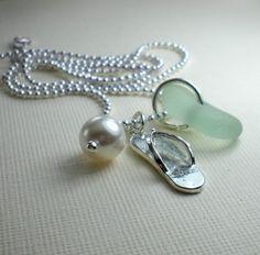 Seaglass Jewelry Beach Glass  Flip Flop by GardenLeafDesign, $22.00