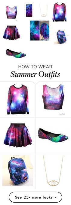 """""""Galaxy Outfit"""" by sofia104 on Polyvore featuring Uncommon, Feathered Soul, Crystal and T.U.K."""