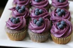If you love blueberry, you will love these cupcakes. Blueberry Cupcakes with Blueberry Cream Cheese Frosting have delicious and very rich blueberry taste. Blueberry Frosting, Blueberry Cupcakes, Blueberry Recipes, Yummy Cupcakes, Purple Cupcakes, Lemon Cupcakes, Pancake Cupcakes, Chocolate Cupcakes, Blueberry Doughnuts