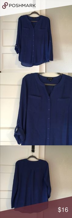 Notations blue long sleeve blouse Excellent condition. Notations blue long sleeve blouse. Size L. 65% rayon, 35% polyester. Notations Tops Blouses