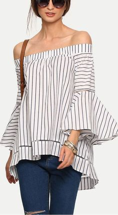 Multicolor Striped Off The Shoulder Bell Sleeve Blouse  40% Off your first order. More surprises at http://shein.com!!