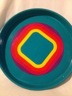 Fantastic 60s retro vintage turquoise tin tray Mid by Inspiria