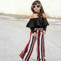 Kids Girls' Street chic Striped Lace up Long Sleeve Cotton Clothing Set Black Black Off Shoulder, Off Shoulder Tops, Outfits Niños, Kids Outfits, Jean Moda, Cheap Girls Clothes, Kind Mode, Outfit Sets, Baby Dress