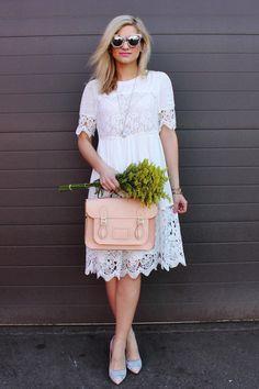 Bijuleni- Ethereal white lace midi dress, bow heels and blush Cambridge Satchel look.