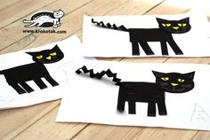 Easy cat collage from geometric shapes Animal Crafts For Kids, Fall Crafts For Kids, Craft Activities For Kids, Art For Kids, Puppet Crafts, Cat Crafts, Crafts For 3 Year Olds, Fall Art Projects, 2nd Grade Art