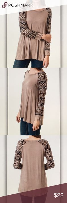 Tan tribal long sleeve tee Super cute and unique! Approx. 28 in. Length. Made in USA. Rayon blend. Fits true to size. S-2/4 M-6/8 L-10/12 Final sale item! Only a few left! Tops Tees - Long Sleeve