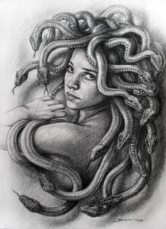 "Saatchi Art is pleased to offer the drawing, ""Medusa. Denis Nunez,"" by Hanoi Martinez. Original Drawing: N/A on Cardboard. Medusa Drawing, Medusa Art, Medusa Gorgon, Medusa Head, Payasa Tattoo, Ozzy Tattoo, Medusa Tattoo, Body Art Tattoos, Leg Tattoos"