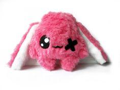 Kawaii  Plush Rabbit one eye strawberry pink von Fluse123 auf Etsy, €22.00