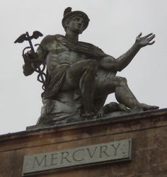 Mercury was the Roman god of travellers. He had a winged hat and sandals.He was also the god of thieves. ( equivalent of Greek god Hermes)
