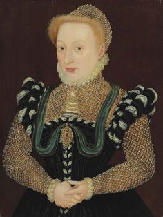 1560s English: Unknown Lady.  She gets to have EARS. and a pretty hat. Attr to Master of the Countess of Warwick  Christies July 2012