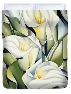 Cubist Lilies Duvet Cover by Catherine Abel