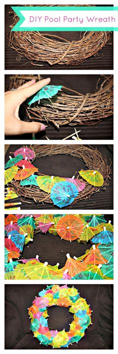 #DIY Luau/Pool #Party Ideas (Part 1) - Drink Umbrella Wreath Picture Tutorial