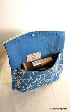thrift store place mat -->make up pouch