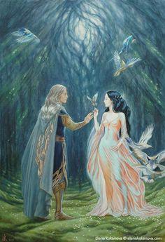 MELIAN AND ELWE (THINGOL) BY ELENA KUKONOVA
