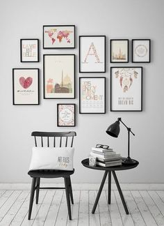 modern gallery art wall with black frames