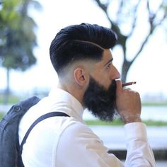 How-to Hairstyle Tutorial: - Undercut Comb Over with Volume and Hard Part Barber Haircuts, Cool Haircuts, Haircuts For Men, Hard Part Haircut, Fade Haircut, Undercut Pompadour, Undercut Hairstyles, Long Hair Comb Over, Hair Styles 2016