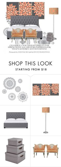 """Grey & Peach"" by lilly-cool-1 ❤ liked on Polyvore featuring interior, interiors, interior design, home, home decor, interior decorating, WallPops, Giclee Glow, peach and grey"