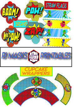 PJ Masks cupcake wrappers, PJ Masks straw flags, and more superhero printables in these Free PJ Masks printable collection at Mandy's Party Printables Pj Masks Cake Topper, Pj Mask Cupcakes, Cake Toppers, Pjmask Party, Party Ideas, Party Themes, Pj Mask Party Decorations, Birthday Decorations, Pj Masks Birthday Cake